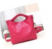 Versatile Leather Handbag - pink