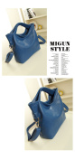 Versatile Leather Handbag - Blue