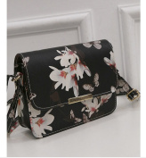 Lady's Shoulder Bag with Floral Print - Black