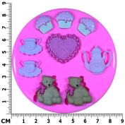 Teddy Bears Picnic Tea Party Silicone Mould Mould for Cake Decorating Cake Cupcake Toppers Icing Sugarcraft Tool by Fairie Blessings