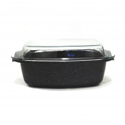 Cuisy kc2246 Casserole Roasting Pan All Heat Sources Cast Aluminium Stone Effect 38.5 x 22 x 11 cm Stainless Steel/Black