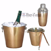4 Pcs Copper Effect Stainless Steel Bar Set Cocktail Shaker Ice Bucket Tongs