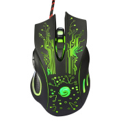 LED Optical 6D USB Wired Gaming Game Mouse - Green