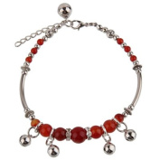Hand Made Fashion Anklet - Small Bells and Red Agate Stones