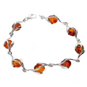COGNAC BALTIC AMBER STERLING SILVER 925 JEWELLERY BRACELETS BEAUTY STONE, KAB-261