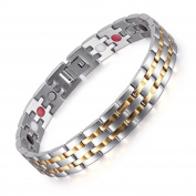 4 Elements Therapy Power Men's Magnetic Bracelet Stainless Steel Bangle Silver Gold Plated in Gift Bag