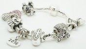 Baby Girl Christening Present Keepsake Silver Charm Bracelet with Gift Box