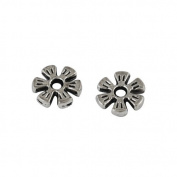 Packet of 50+ Antique Silver Tibetan 2 x 8mm Daisy Flower Spacer Beads - (HA15340) - Charming Beads