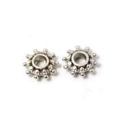 Packet of 30 x Antique Silver Tibetan 9mm Flower Spacer Beads - (HA15640) - Charming Beads