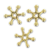 Metal spacer beads rays 15mm Gold tone x4