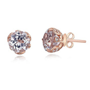 Vintage Style 14K Rose Gold Stud 2.5 Ct Topaz Earrings Natural 0.24 Ct Diamonds