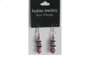 Discount Earrings with Purple Beads Ethnic