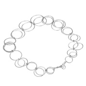 TIKIVILLE 925 Sterling Silver Big Loop Chain Necklace 46cm , Rhodium Plated