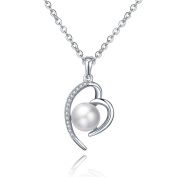 Women's 925 Sterling Silver 9mm Freshwater Pearl Cubic Zirconia Heart Pendant Necklace