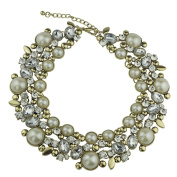 Kalse Gold Tone Vintage Chain Charm Simulated Pearl Rhinestone Statement Bib Choker Women Fashion Collar Necklace