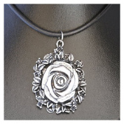 Flower design necklace on a leather style cord