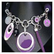 Chunky Carm Necklace Peace symbol discs and beads Purple