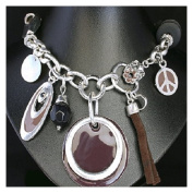 Chunky Carm Necklace Peace symbol discs and beads