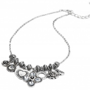 Flower and heart charm necklace in antique silver finish