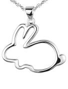 925 Sterling Silver bunny Pendant Necklace 2.5cm by 2.5cm Rhodium Plated