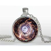 Charm Full Moon Bird Necklace, Space Picture Bird Pendant, Galaxy Jewellery