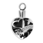 Stainless Heart Shape Cremation Keepsake Memorial Ash Urn Pendant Necklace