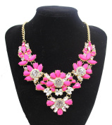 Ladies Colourful Pink Flower Style Jewel Statement. Crystal Bib Choker Collar Necklace