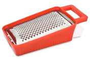 Menax - Stainless Steel Grater with Storage Container - For Grating Cheese, Carrots - Made in Italy - Red