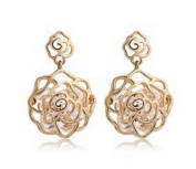 Wiftly Earring for Women Girls Hollow Two Rose Shape with Zirconia Hypoallergenic Stud