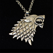 Game of Thrones The Stark House Wolf Necklace Silver Colour Pendant Chain
