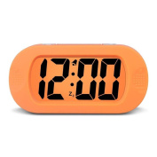 HENSE Large Digital Display Luminous Alarm Clock With Snooze, Night Light Function, Large LCD Display Shockproof Silicone Protective Cover, Simple Setting, Progressive Alarm, Batteries Powered, Operated For Travel ,Office and Home Bedside Alarm Clock H ..