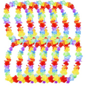 eBoot 10 Pieces Hawaiian Ruffled Flower Lei Luau Floral Leis for Dress, Party Necklace and Beach