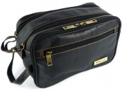 Mens Rowallan Black Leather Wash Bag Travel Toiletries Travel .