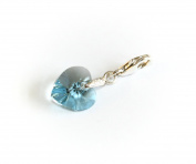 Genuine Silver 925 lovely aquamarine colour crystal heart clip on charm ideal for Thomas Sabo bracelet or necklace