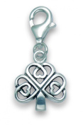 Sterling Silver Celtic Clover clip-on Charm - SIZE