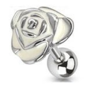 White Epoxy Metal Rose 316L Surgical Steel Tragus Cartilage Upper Ear Earring Bar Barbell