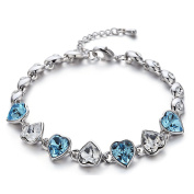 """. Elements Aquamarine Crystal """"Nuovo Amare"""" Bracelet Rhodium Plated - Ideal Gift for Women and Girls - Comes In Gift Box"""