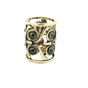 Vintage Women's Scarf Ring Clip Slide Buckle Owl Pattern Antique Brass