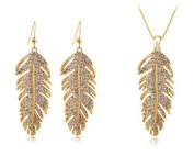 Women's Feather Crystal Pendant Necklace And Earrings Jewellery Set 18K Gold Plated 46cm Colour Gold