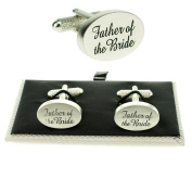Father Of The Bride Silver Oval Wedding Cufflinks & Presentation Gift Box