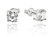 925 Stamped Sterling Silver 6mm Cubic Zirconia Stud Earrings in Gift Box