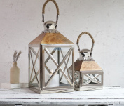 SALE - Garden Candle Lantern - Beautiful Wood & Stainless Steel - High Quality - Indoor Outdoor - 30cm H