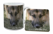 German Shepherd 'Love You Dad' Mug and Table Coaster, Ref:DAD-34MC