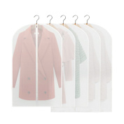 Naerde Pack of 5 PEVA Eco-Friendly Transparent Suit Dress Garment Clothes Cover Clothes Bags with Long Zip and Top Hole for Hanger Hook 3 of 100*60CM Suit Cover and 2 of 128*60Cm Oversized Garment Bag