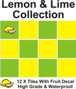 30cm X 15cm X 15cm TILE STICKERS TRANSFER LEMON & LIME COLLECTION WITH FREE PRINTED TRANSFER