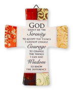 Porcelain Cross with Serenity Prayer Easter GIFT SET INCLUDES A LOURDES PRAYER CARD