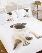Dreamscene Duvet Cover with Pillow Case 3D Pug Dog Animal Print - Single Size - Quilt Bedding Set