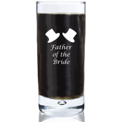 300ml Bubble Base Hi Ball Glass With Father of the Bride Design