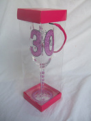 """Glamourous Pink Glitter """"30"""" Champagne Flute with Presentation Box - Great 30th Birthday Gift"""