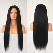 Rongduo Yi Brazilian Virgin Human Hair 150Density Natural Black Colour Silk Straight Glueless Lace Front Wigs with Natural Hairline for Black Women